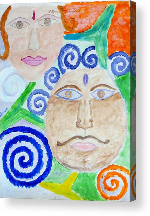 Expresion Acrylic Print featuring the painting Faces by Sonali Gangane