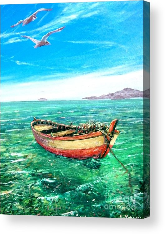 Sea Acrylic Print featuring the painting Barca In Mare N.2 by Sandro Mulinacci