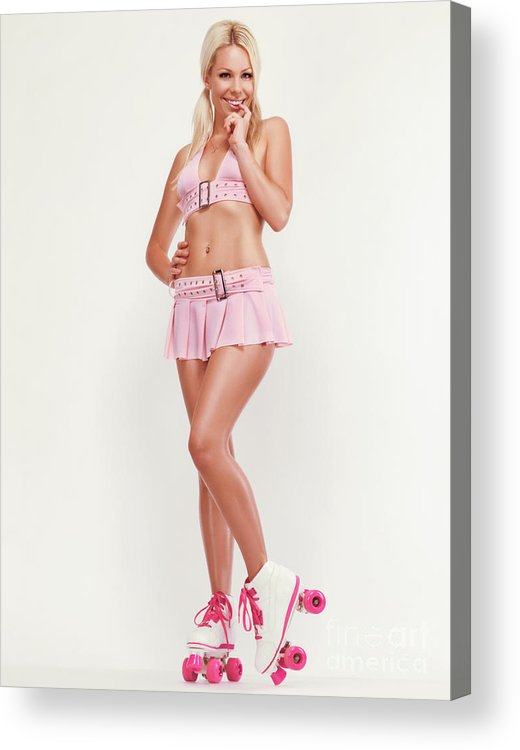 Roller Skates Acrylic Print featuring the photograph Glamorous Girl On Roller Skates by Oleksiy Maksymenko