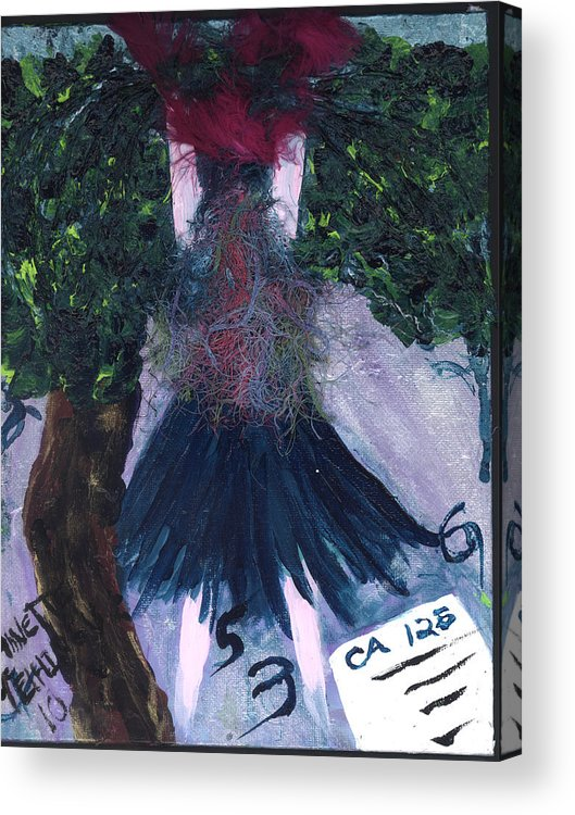 Women Acrylic Print featuring the painting Althea Awaits Her Ca 125 Report by Annette McElhiney