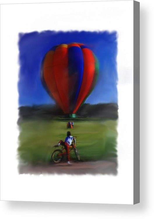 Balloon Acrylic Print featuring the digital art Boy And Balloon by Mary M Collins
