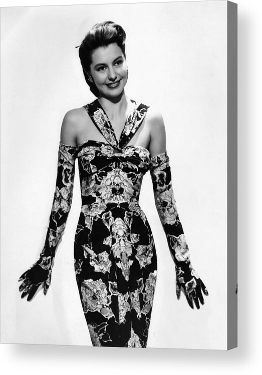 11x14lg Acrylic Print featuring the photograph Cyd Charisse Modeling Flowered Evening by Everett