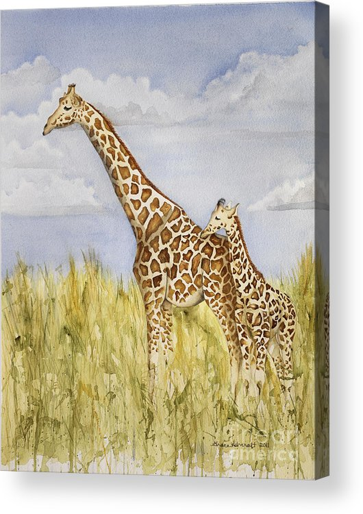 Animal Acrylic Print featuring the painting Giraffe And Calf by Grace Ashcraft