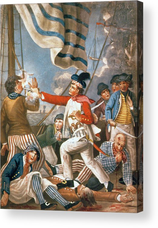United States Of America; Us History; Usa; American Revolutionary War; Revolution; War Of Independence; C18th; Hms Serapis; Bonhomme Richard; Injured; Wounded; Sea Battle; Dead; Heroic; Naval; American Navy; Hero; Deck; Maritime; Killing; Fight; Action Acrylic Print featuring the painting John Paul Jones Shooting A Sailor Who Had Attempted To Strike His Colours In An Engagement by John Collet
