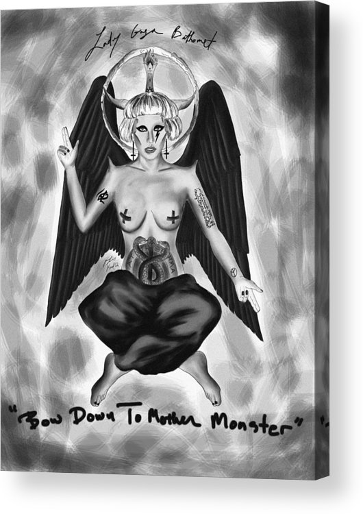 Lady Gaga Baphomet Acrylic Print featuring the drawing Lady Gaga Baphomet by Kenal Louis