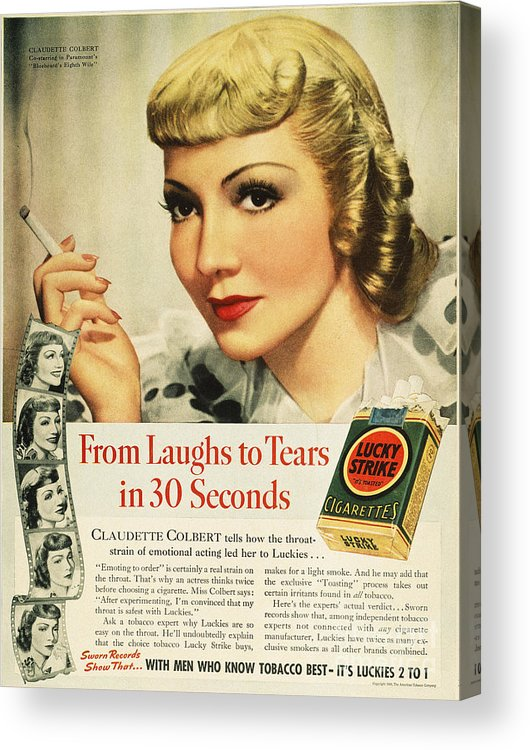 1938 Acrylic Print featuring the photograph Luckys Cigarette Ad, 1938 by Granger