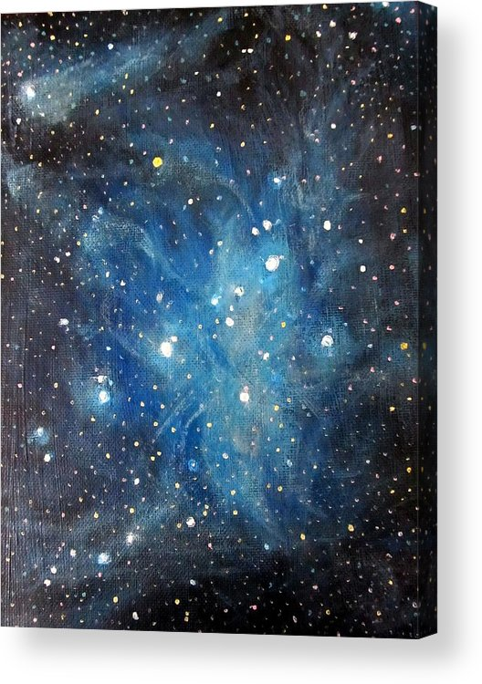 Space Acrylic Print featuring the painting Messier 45 Pleiades Constellation by Alizey Khan