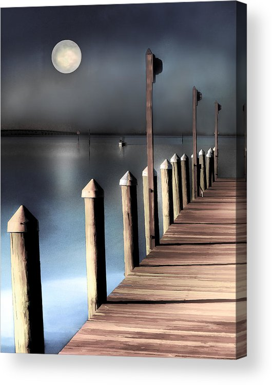 Dock Acrylic Print featuring the photograph Night Light by Stephen Warren