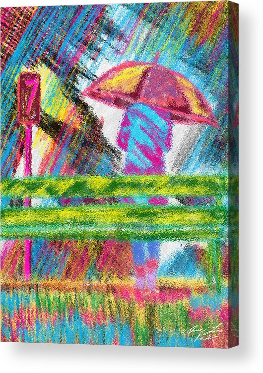Rainy Day Acrylic Print featuring the painting Rainy Day by Kenal Louis