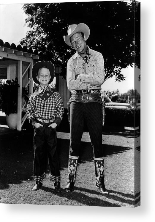 1950s Acrylic Print featuring the photograph Roy Dusty Rogers Jr., And His Father by Everett