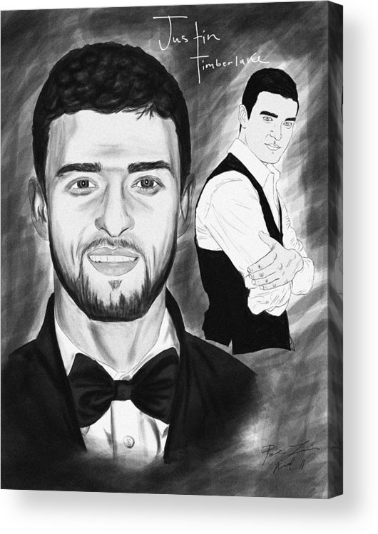 Secret Agent Justin Timberlake Acrylic Print featuring the drawing Secret Agent Justin Timberlake by Kenal Louis