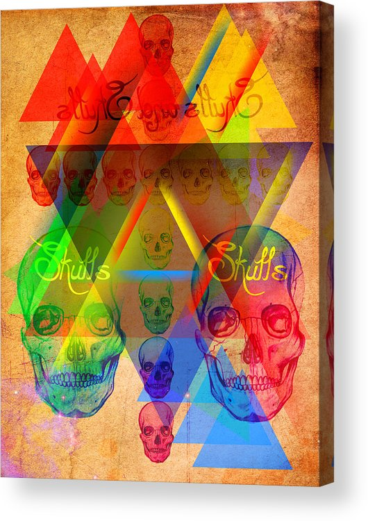 Digital Art Acrylic Print featuring the drawing Skulls And Skulls by Kenal Louis