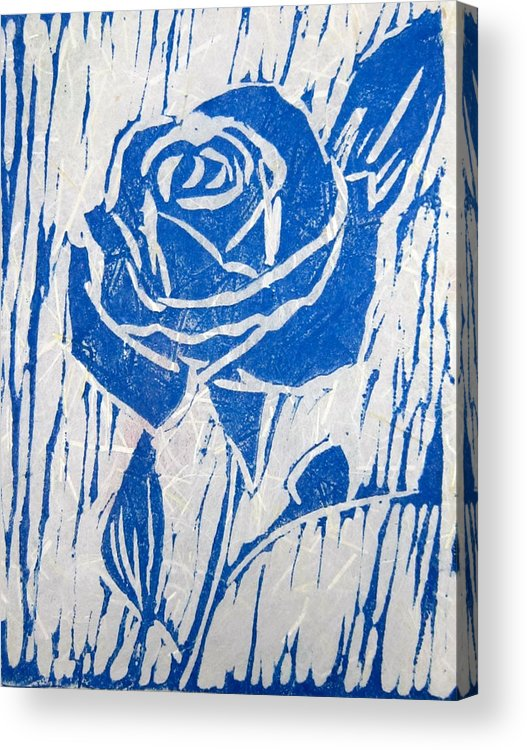 Blue Rose Acrylic Print featuring the relief The Blue Rose by Marita McVeigh