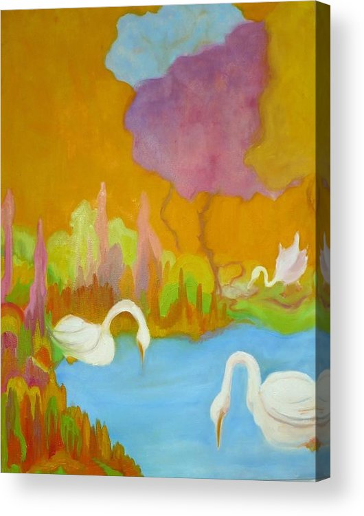 Swans Acrylic Print featuring the painting Three Swans by Diana Ogaard