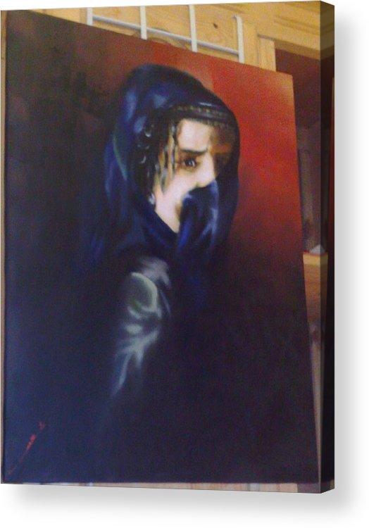 Portrait Acrylic Print featuring the painting Untiteld by Cheaib Barki