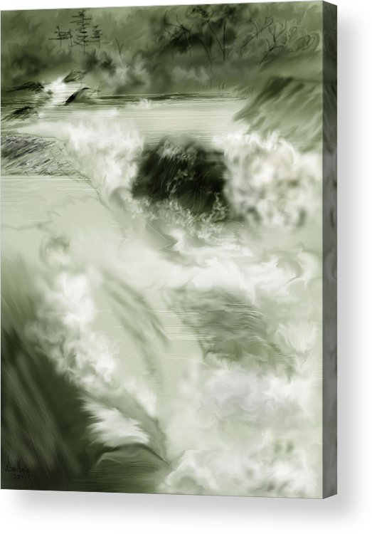 White Water Landscape Acrylic Print featuring the painting Cherry Creek White Water by Anne Norskog