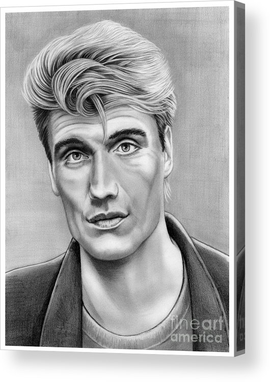 Pencil Acrylic Print featuring the drawing Dolph Lundgren by Murphy Elliott