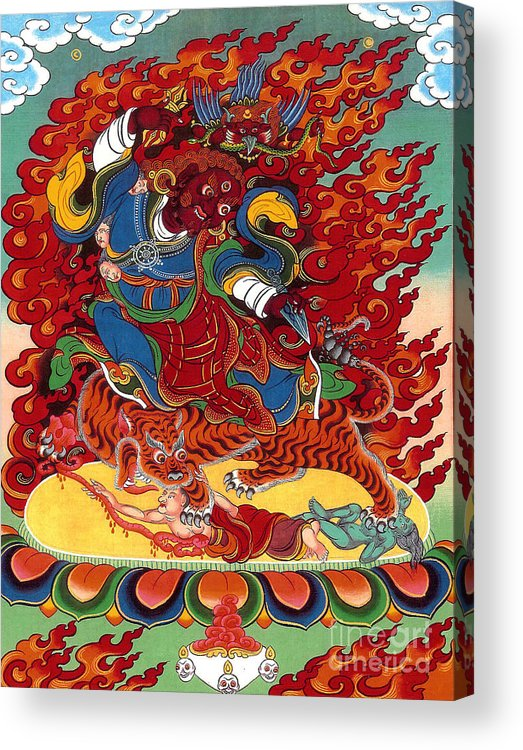 Thangka Acrylic Print featuring the painting Dudjom's Dorje Drollo by Sergey Noskov