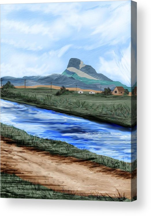 Heart Mountain Acrylic Print featuring the painting Heart Mountain And The Canal by Anne Norskog