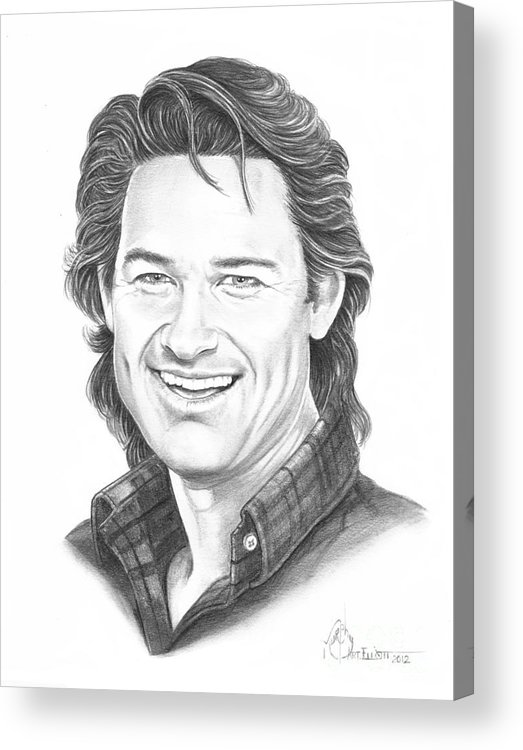Portrait Acrylic Print featuring the drawing Kurt Russell by Murphy Elliott