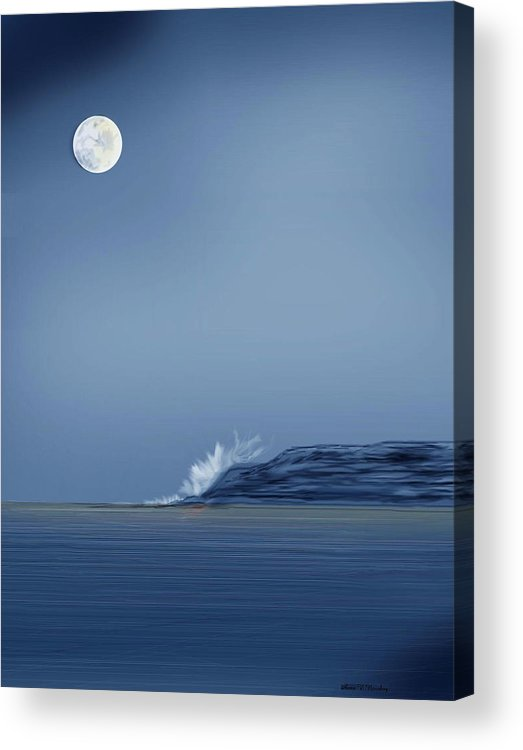 Seascape Acrylic Print featuring the painting Looking At The Moon by Anne Norskog