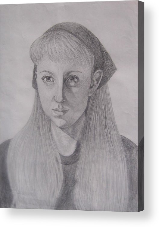 Artist Acrylic Print featuring the drawing Pencil Self Portrait by Emily Young