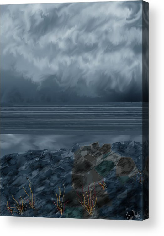 Seascape Acrylic Print featuring the painting Slack Tide On The Jetty by Anne Norskog