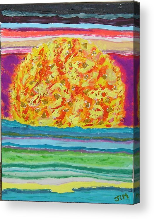 Hot Acrylic Print featuring the painting The Sun Drinks The Ocean And Eats The Sky by James Campbell