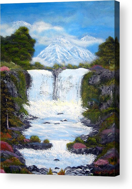 Landscapes Paintings Acrylic Print featuring the painting Twin Falls by Allison Prior
