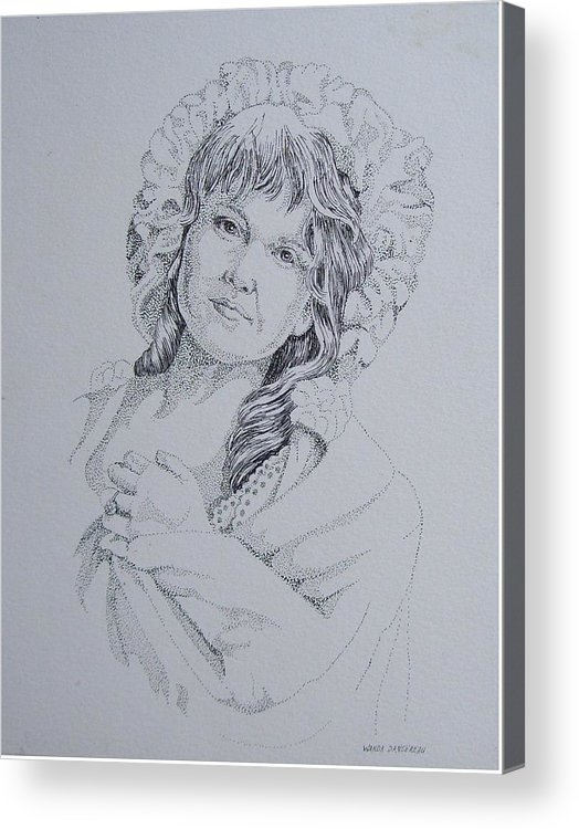 A Historic Piece Using The Pointillist Style Acrylic Print featuring the drawing 1910 Lady by Wanda Dansereau