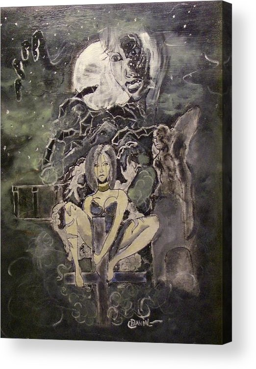 Fantasy Acrylic Print featuring the painting Dark Religion by Danial Mcclinton