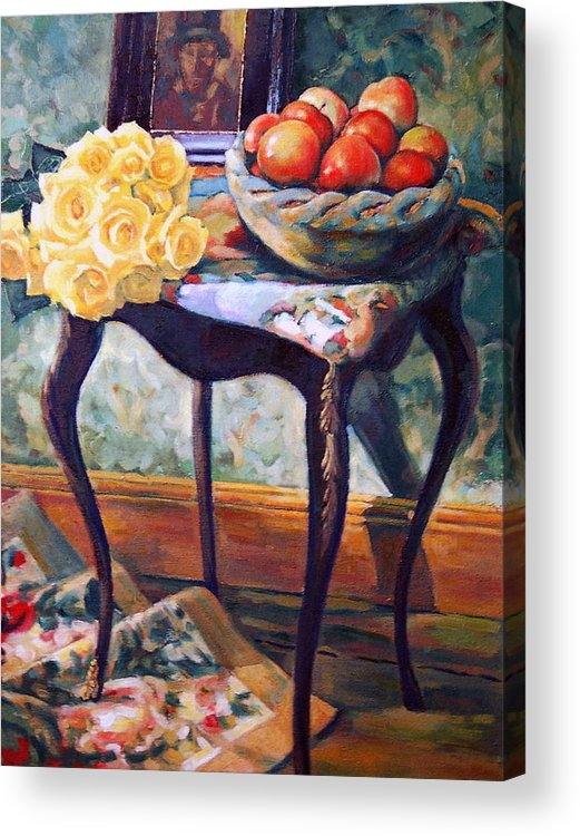 Still Life Acrylic Print featuring the painting Still Life With Roses by Iliyan Bozhanov