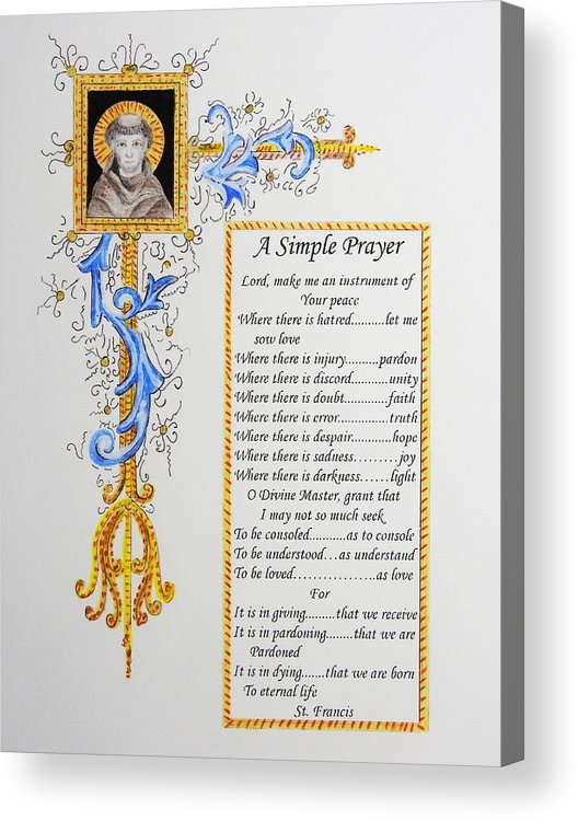 Religious Art Acrylic Print featuring the drawing A Simple Prayer by Stephen W Keller