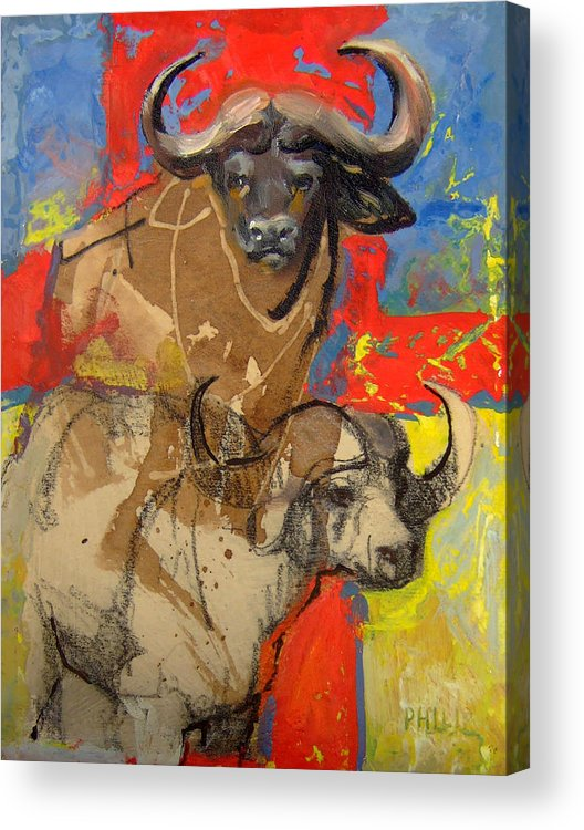 Africa Acrylic Print featuring the mixed media African Buffalo by Michelle Philip