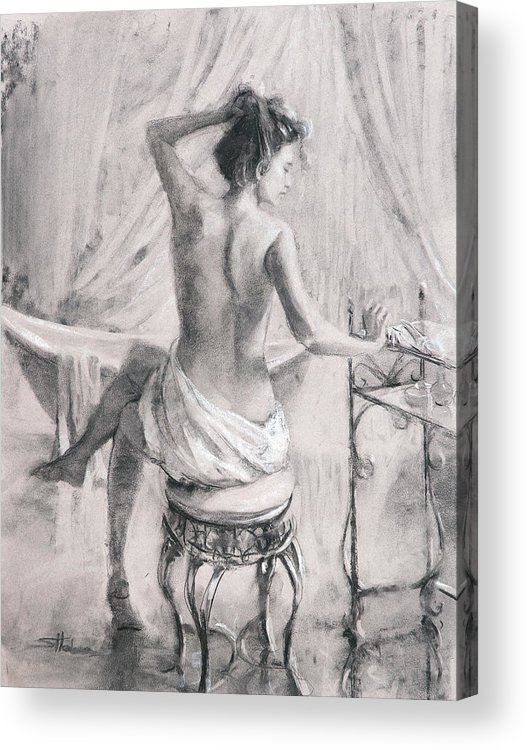 Bath Acrylic Print featuring the painting After The Bath by Steve Henderson
