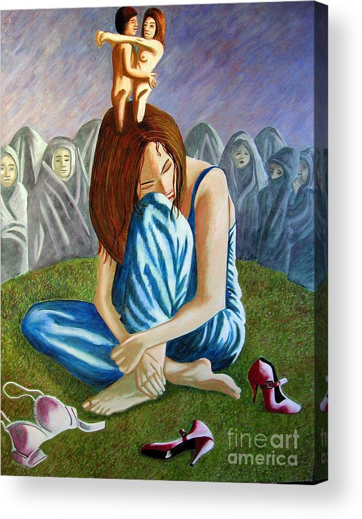 Identity (symbolic Art) Acrylic Print featuring the painting Am I My Religion My Beliefs by Tanni Koens