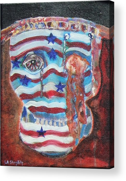 U.s. Flag Acrylic Print featuring the painting America Under Fire by Lee Anne Stieglitz