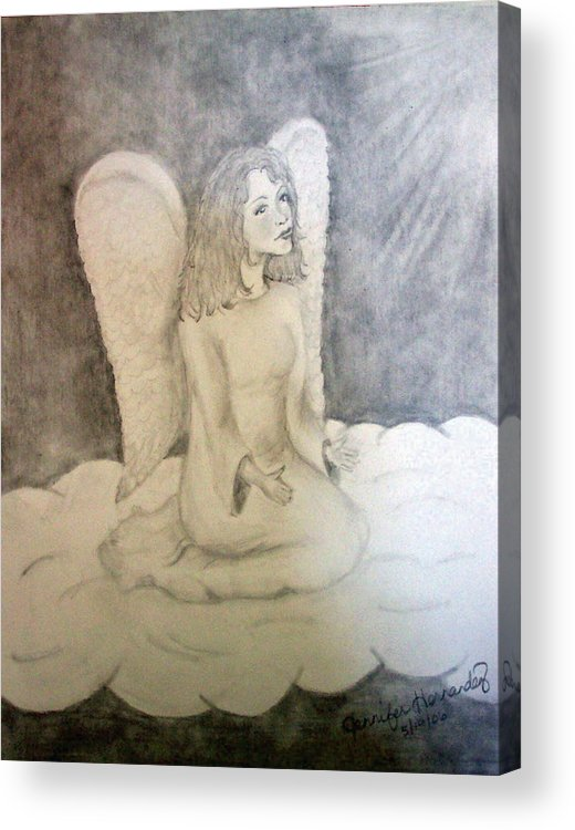 Angel Acrylic Print featuring the drawing Angel by Jennifer Hernandez