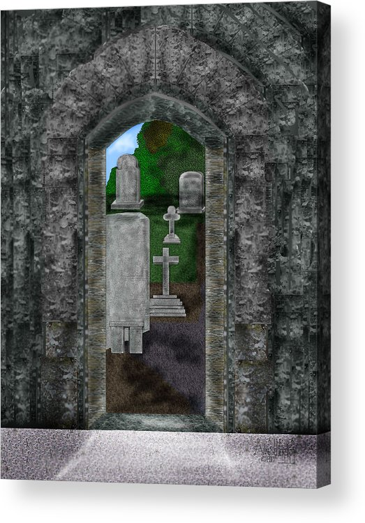 Digital Landscape Acrylic Print featuring the painting Arches And Cross In Ireland by Anne Norskog