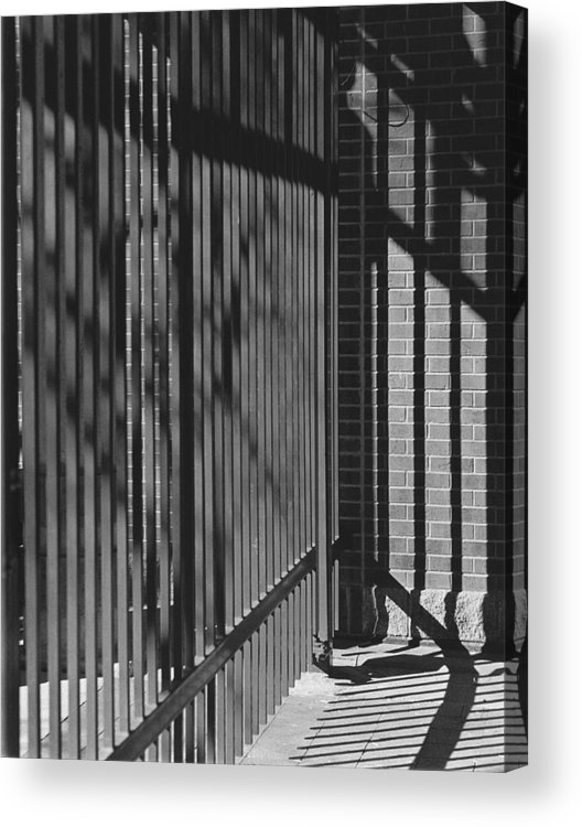 Light And Shadow Acrylic Print featuring the photograph Art And Design Center Security Gate by Jim Furrer