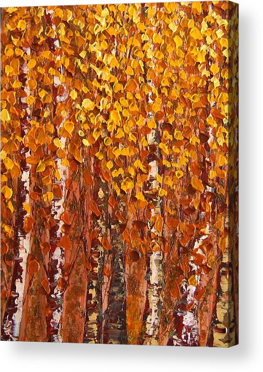 Aspen Acrylic Print featuring the painting Aspen Grove by Wanda Pepin