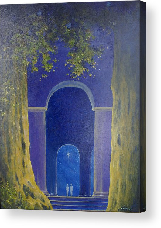Landscape Acrylic Print featuring the painting At Night In The Temple by Georg Schedlbauer