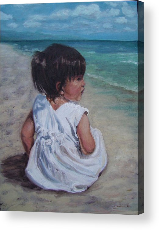 Children Acrylic Print featuring the painting Beach Baby by Tahirih Goffic