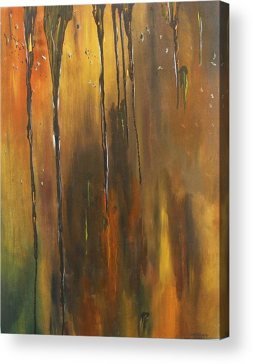 Abstract Acrylic Print featuring the painting Behind The Window by Miroslaw Chelchowski