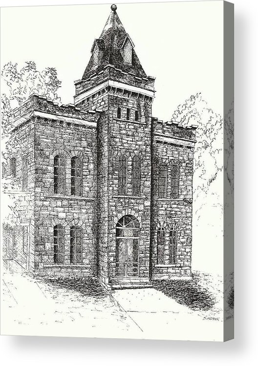 Belton Acrylic Print featuring the drawing Belton Jail by Barney Hedrick