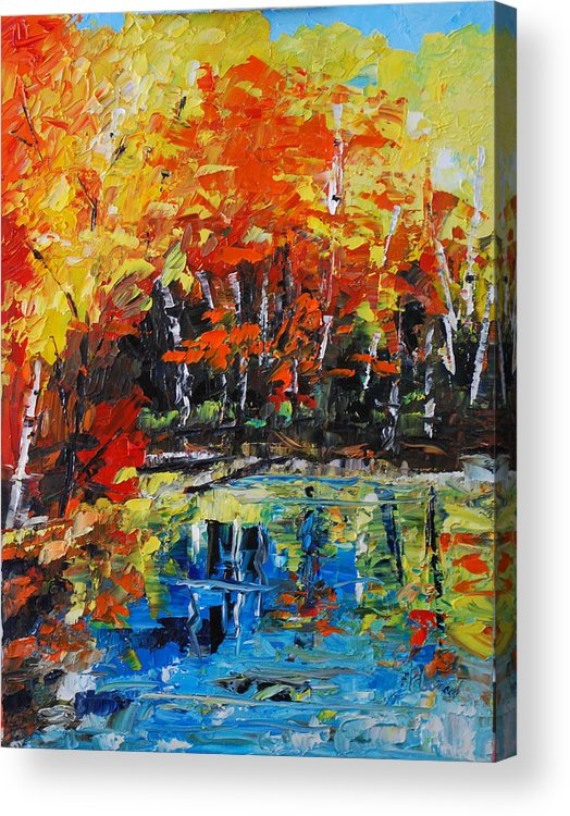 Landscape Acrylic Print featuring the painting Blazing Reflections by Phil Burton
