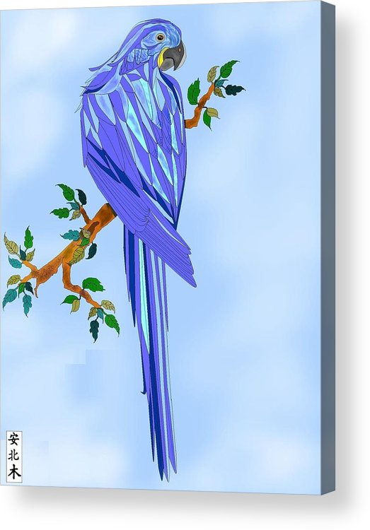 Blue Bird Acrylic Print featuring the painting Blue Hyacinth by Anne Norskog