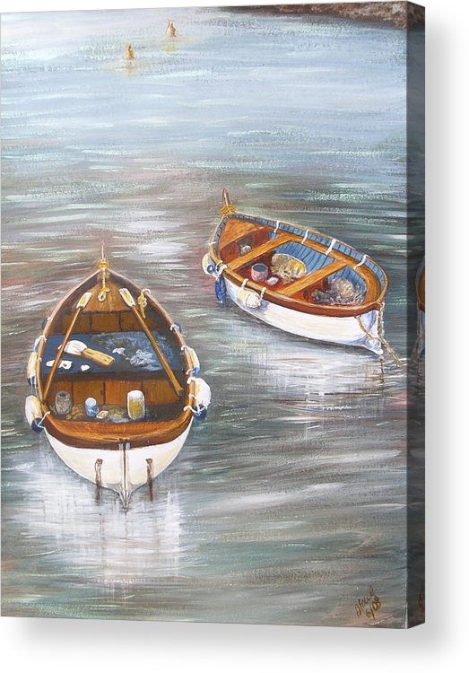Boats Acrylic Print featuring the painting Boats by Jan Lowe