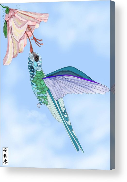 Hummingbird Acrylic Print featuring the painting Broadbilled Hummer by Anne Norskog