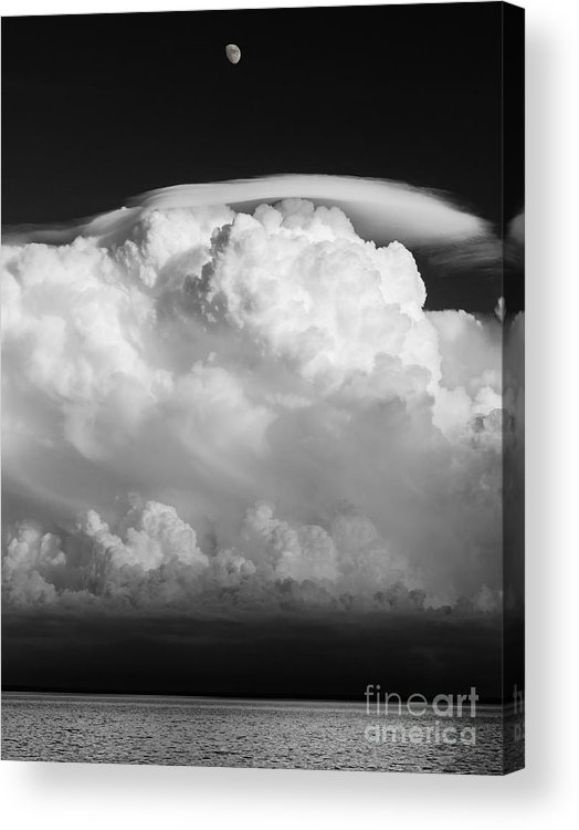 building A Mystery supercel lake Superior moon Over Lake Superior black And White Bw Monochrome Sky mary Amerman Acrylic Print featuring the photograph Building A Mystery by Mary Amerman